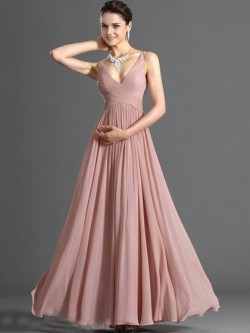 Discount A-line Chiffon with Ruffles V-neck Bridesmaid Dress in UK